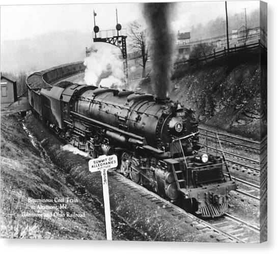 Freight Trains Canvas Print - B & O Railroad Coal Train by Underwood Archives