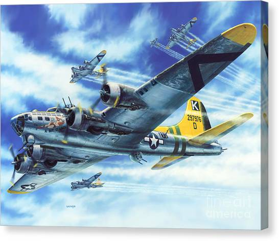Bombers Canvas Print - B-17g Flying Fortress A Bit O Lace by Stu Shepherd