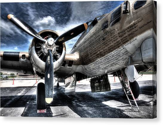 Red Camo Canvas Print - B-17g Front by Gregory Heath