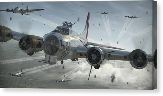 Air Force Canvas Print - B-17g Hikin' For Home by Robert Perry