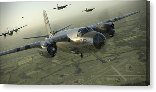 Bombers Canvas Print - B-26 Feudin Wagin by Robert Perry