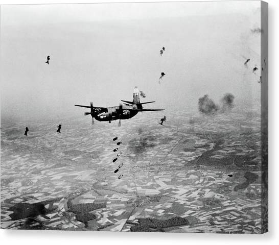 United States Army Air Corps Canvas Print - B-26 Martin Marauder Aircraft Dropping by Vintage Images