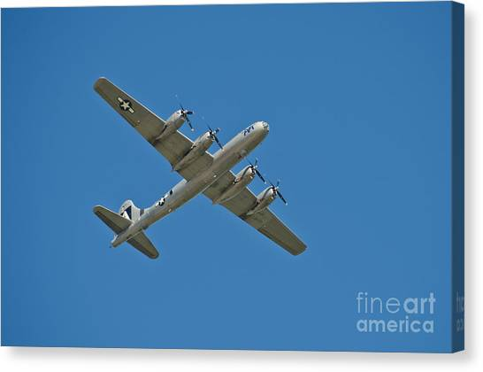 Prop Planes Canvas Print - B-29 Bomber Overhead by Anthony Mercieca