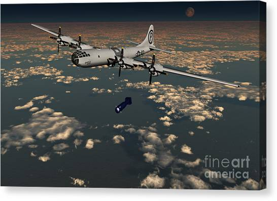 Warheads Canvas Print - B-29 Superfortress Dropping Little Boy by Mark Stevenson