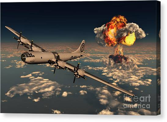 Aerial View Canvas Print - B-29 Superfortress Flying Away by Mark Stevenson