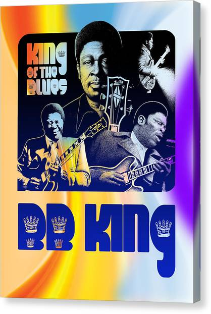 B. B. King Poster Art Canvas Print by Robert Korhonen
