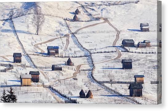 Farm Landscape Canvas Print - B U C O V I N A by Sveduneac Dorin Lucian