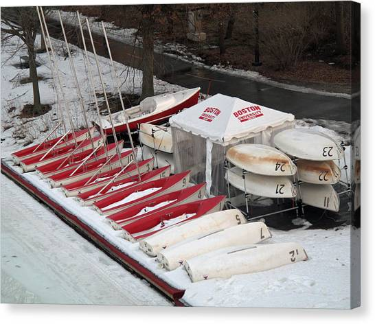 Patriot League Canvas Print - B U Wintered Boats by Barbara McDevitt