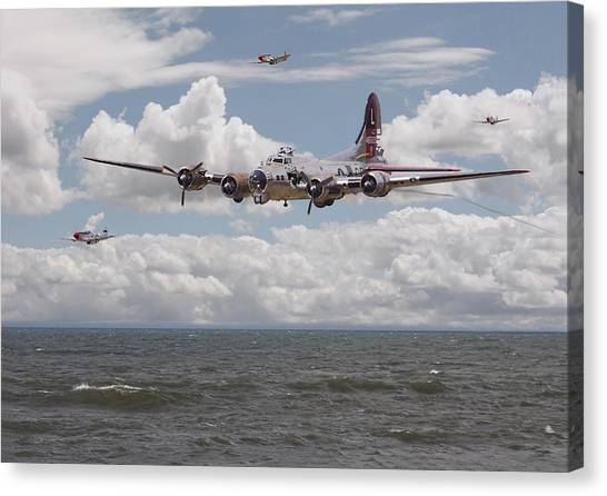 P51 Canvas Print - B17 The Hardest Mile by Pat Speirs