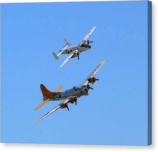 Canvas Print featuring the photograph B25 Mitchell And B17 Flying Fortress by Jeff Lowe