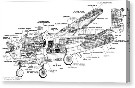 B25 Mitchell Schematic Diagram Canvas Print by John King