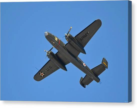 B25 Mitchell Wwii Bomber On 70th Anniversary Of Doolittle Raid Over Florida 21 April 2013 Canvas Print