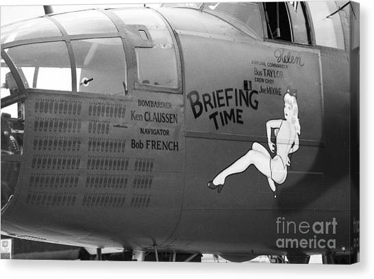 B25j Mitchell Briefing Time Bw Canvas Print