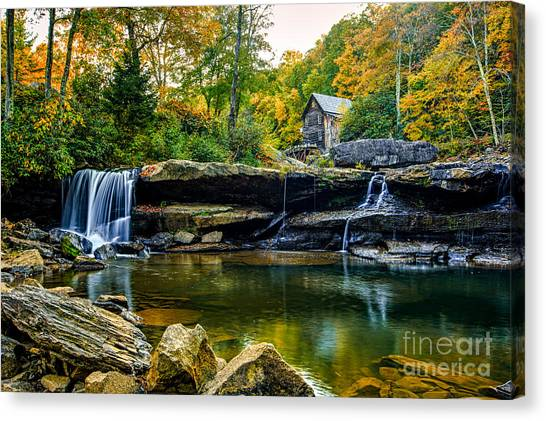 Babcock Falls As The Leaves Turn Canvas Print by Mark East