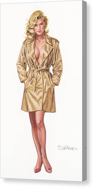 Babe In Trenchcoat Canvas Print