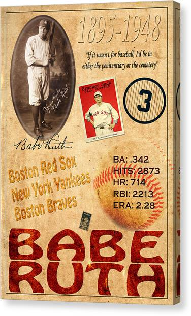 Babe Ruth Canvas Print - Babe Ruth by Andrew Fare