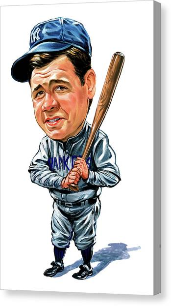 Laugh Canvas Print - Babe Ruth by Art