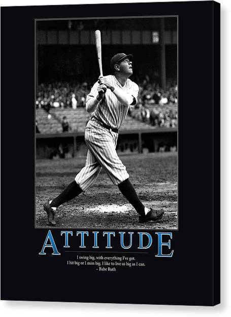 Babe Ruth Canvas Print - Babe Ruth Attitude  by Retro Images Archive