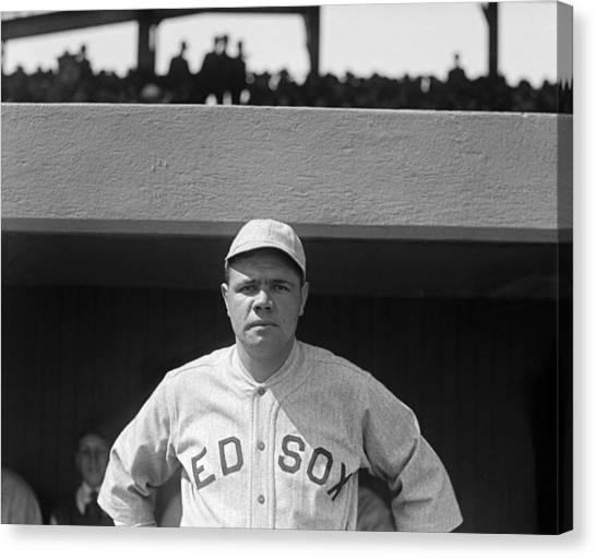 Babe Ruth Canvas Print - Babe Ruth In Red Sox Uniform by Underwood Archives