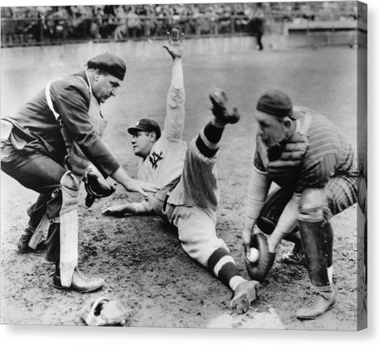 Babe Ruth Canvas Print - Babe Ruth Slides Home by Underwood Archives