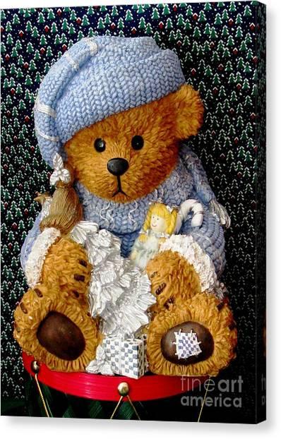 Baby Bear Ready For Christmas Canvas Print
