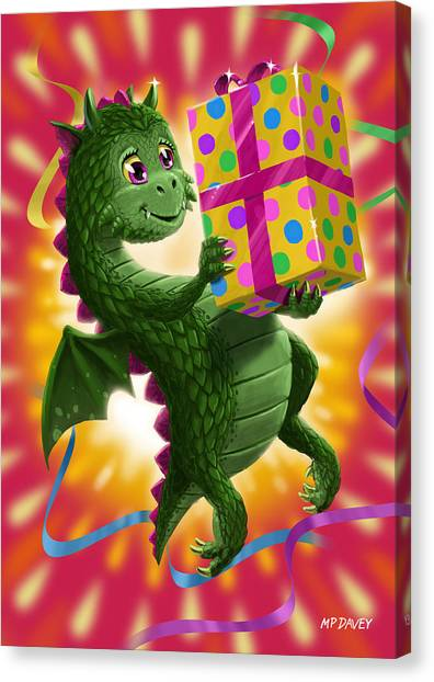 Baby Birthday Dragon With Present Canvas Print
