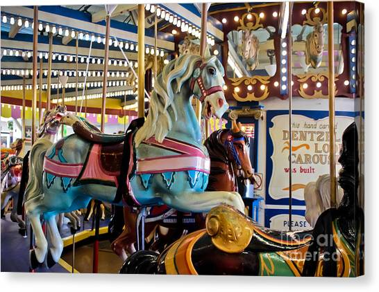 Casino Pier Canvas Print - Baby Blue Painted Pony - Carousel by Colleen Kammerer