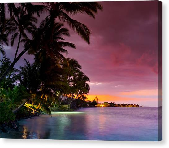 Islands Canvas Print - Baby Blues And Pinks by Sean Davey