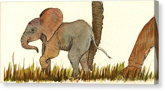 Fat Canvas Print - Baby Elephant by Juan  Bosco