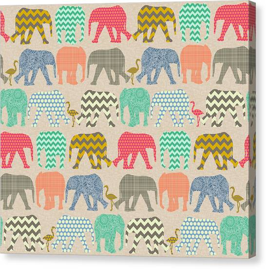 Pattern Canvas Print - Baby Elephants And Flamingos Linen by Sharon Turner