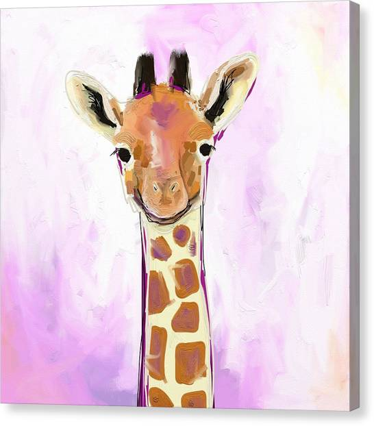 Orange Canvas Print - Baby Giraffe  by Cathy Walters