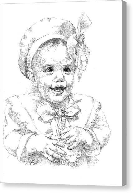 Baby Girl. Stippling. Commission. Canvas Print