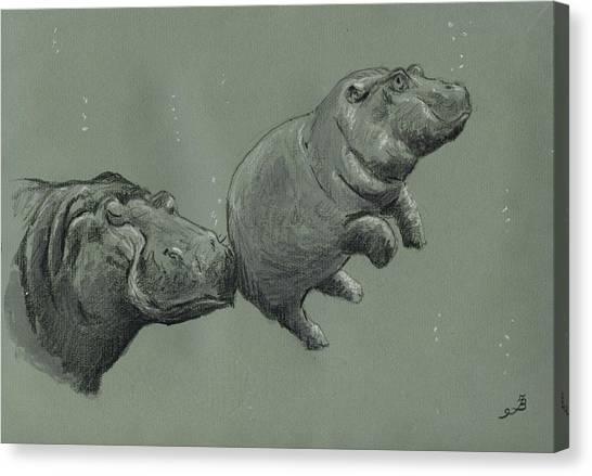 Hippopotamus Canvas Print - Baby Hippo by Juan  Bosco