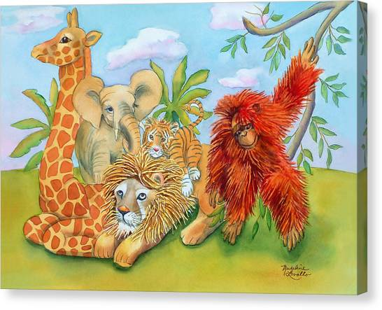 Baby Jungle Animals Canvas Print