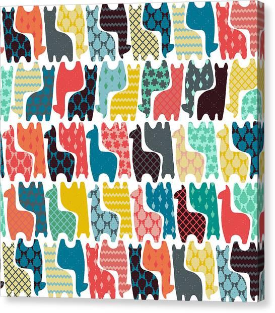 Pattern Canvas Print - Baby Llamas by Sharon Turner
