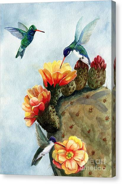 Cactus Canvas Print - Baby Makes Three by Marilyn Smith