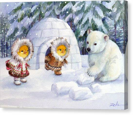 Baby Polar Bear Canvas Print