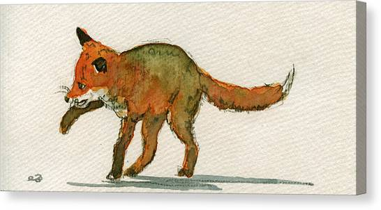Playing Canvas Print - Baby Red Fox Playing by Juan  Bosco