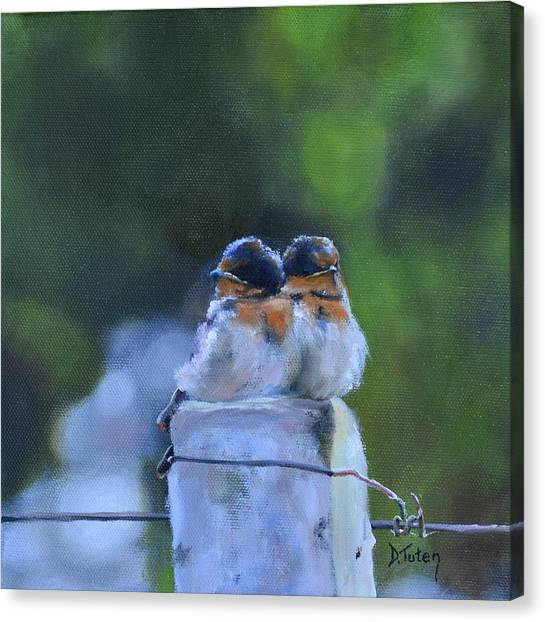 Baby Swallows On Post Canvas Print