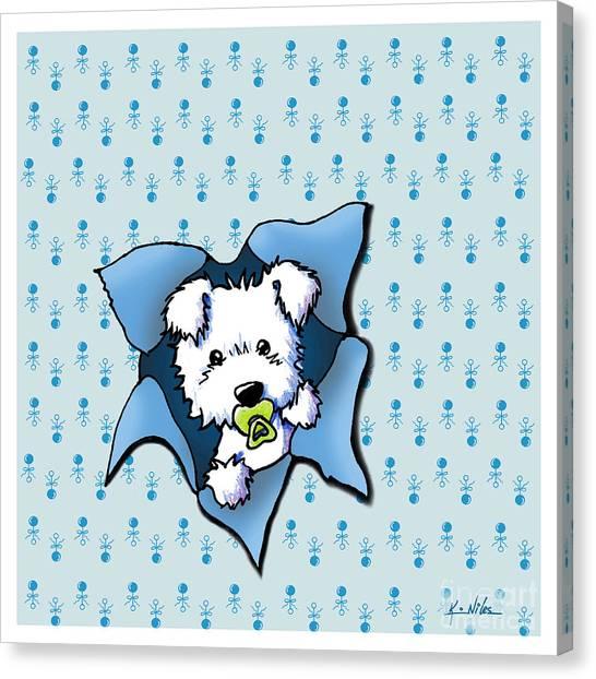 New Baby Canvas Print - Baby Westie Blast by Kim Niles