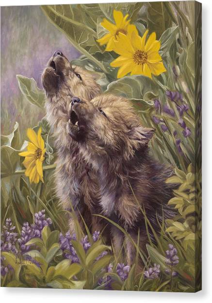 Baby Wolves Howling Canvas Print