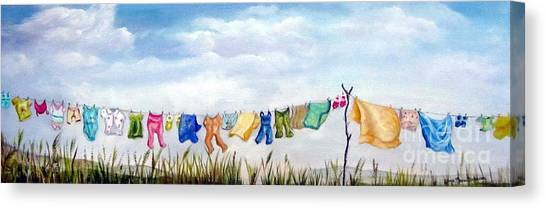 Baby's Clothesline Canvas Print