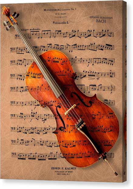 Music Canvas Print - Bach On Cello by Sheryl Cox