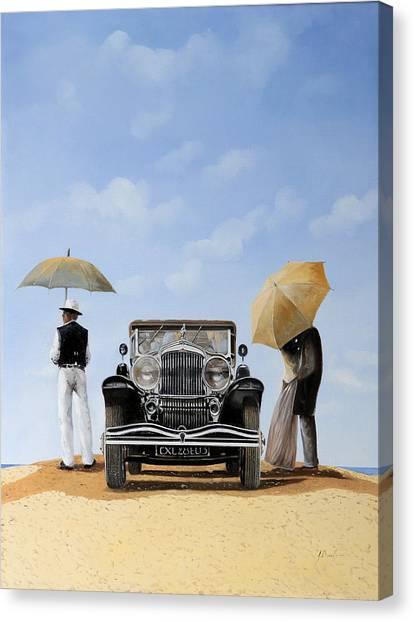 Beach Umbrellas Canvas Print - Baci Nel Deserto by Guido Borelli