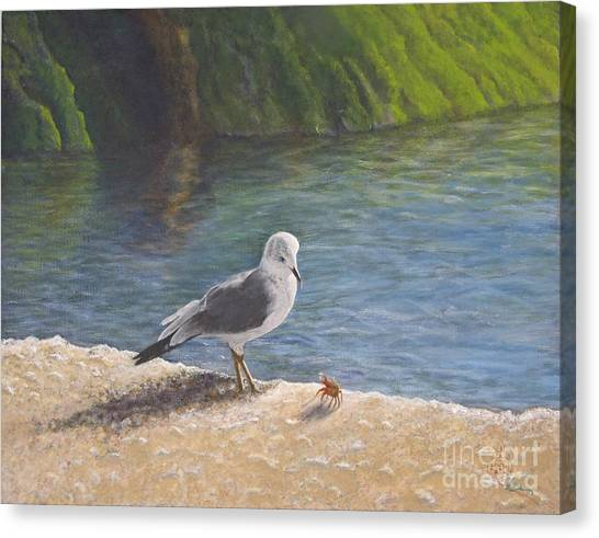Seagulls Canvas Print - Back Off by Cindy Lee Longhini