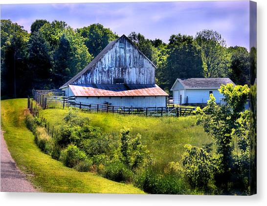 Back Roads Country Barn Canvas Print by Virginia Folkman