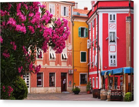 Back Streets Of Izola Slovenia Canvas Print