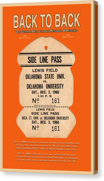 Oklahoma State University Canvas Print - Back To Back Rivalry Wins by Robert J Sadler