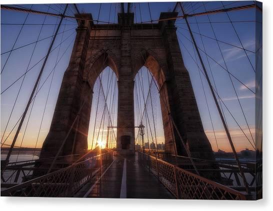 Brooklyn Bridge Canvas Print - Back To Brooklyn by Adhemar Duro
