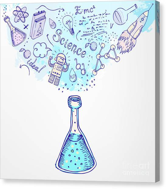 Student Canvas Print - Back To School Science Learning Symbols by Gorbash Varvara